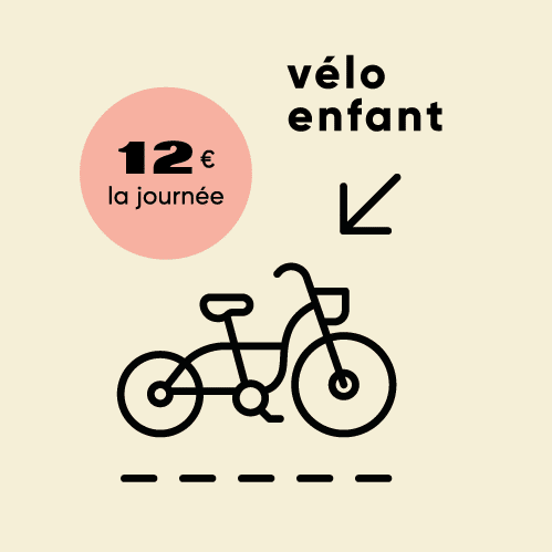 Prix des vélos enfants en location 24h : 12 €